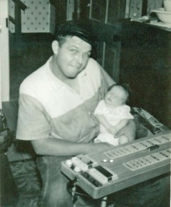 Daddy steel guitar and baby_2